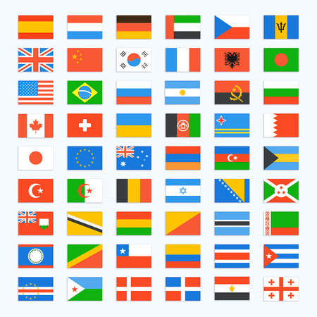 european flags: Flag of world. Vector icons set