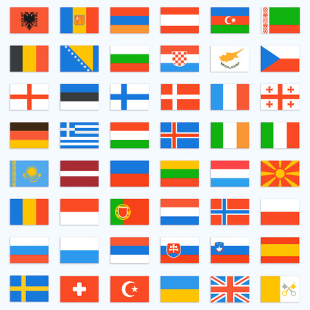 european countries: Flags of Europe complete set. Vector icons