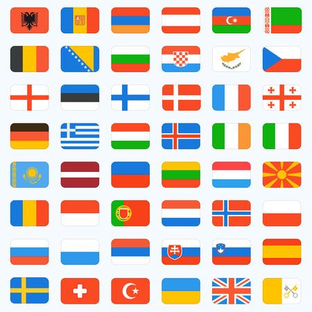 유럽 완전한 세트의 플래그. 벡터 아이콘