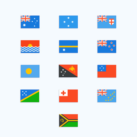 country flags: Oceanian Country Flags. Vector icons set Illustration