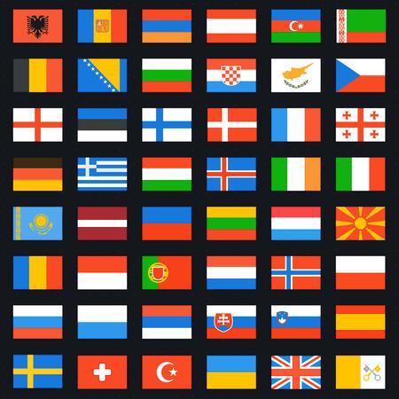 banderas del mundo: Banderas de juego completo de Europa. Iconos del vector