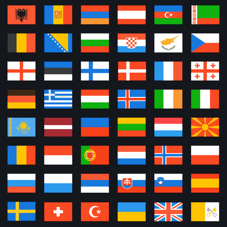 geography of europe: Flags of Europe complete set. Vector icons