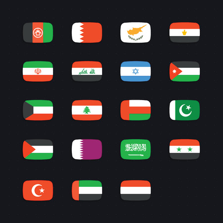 israel flag: Middle Eastern Country Flag. Vector icons set