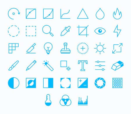 contrast: Photography Outline vector icons for web and mobile. Thin 2 pixel stroke