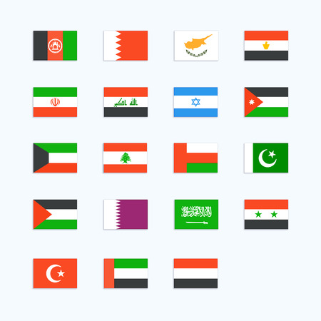 Middle Eastern Country Flag. Vector icons set