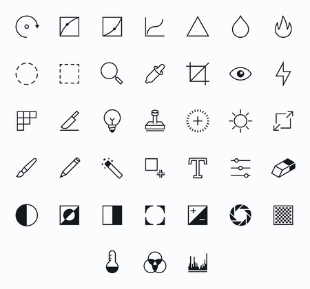 retouch: Photography Outline vector icons for web and mobile. Thin 2 pixel stroke