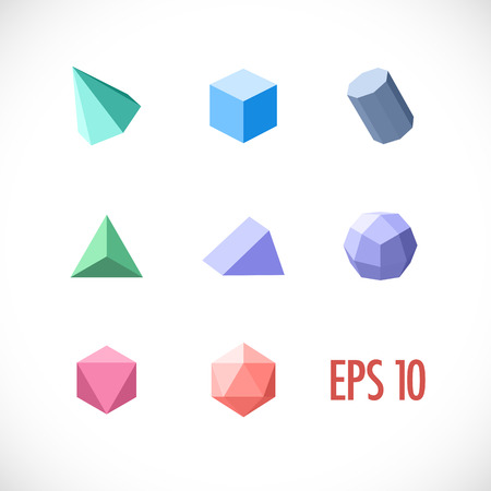 three objects: Polygon 3d objects set. Vector icons