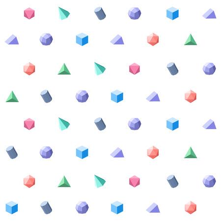 Polygon 3d objects Seamless geometric pattern. Vector