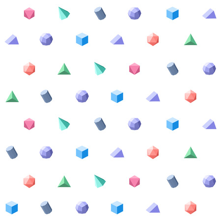design objects: Polygon 3d objects Seamless geometric pattern. Vector