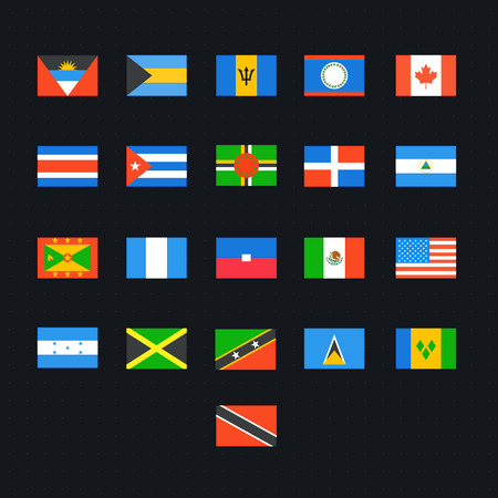 panama flag: North American Country Flags. Vector icons