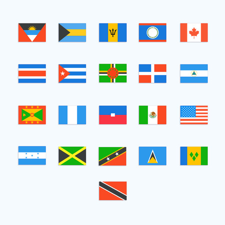 country flags: North American Country Flags. Vector icons