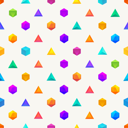 objects: Polygon 3d objects Seamless geometric pattern. Vector