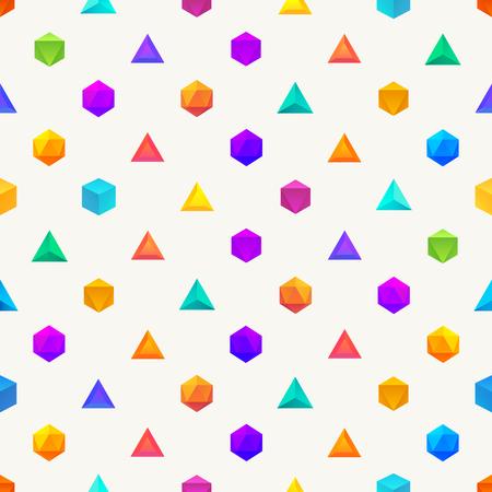 icosahedron: Polygon 3d objects Seamless geometric pattern. Vector