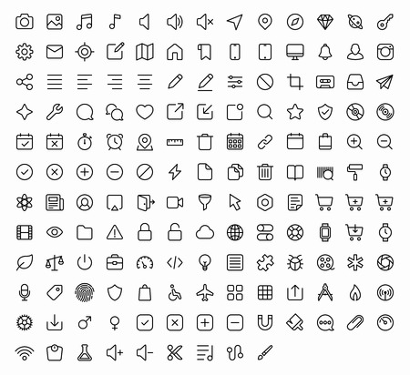 Outline vector icons for web and mobile. 152 glyph 版權商用圖片 - 46674448