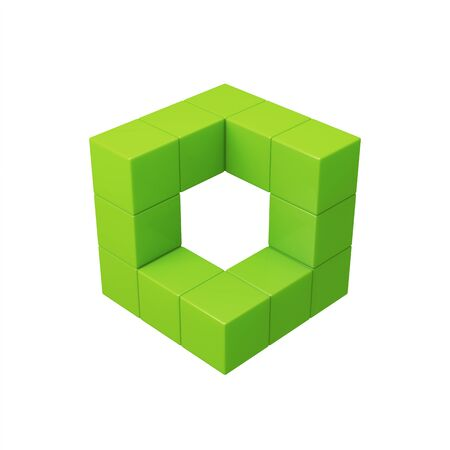 building block: Abstract 3d green cubes illustration. Isolated on white Stock Photo