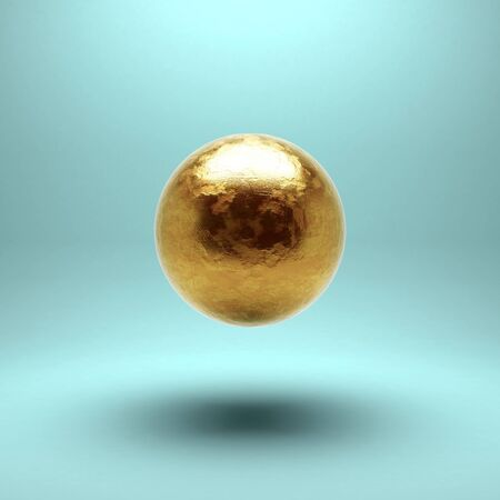 sphere icon: Gold sphere with detailed damages. Isolated