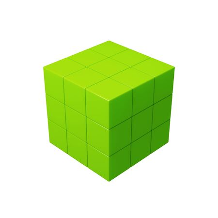 abstract cubes: Abstract 3d green cubes illustration. Isolated on white Stock Photo