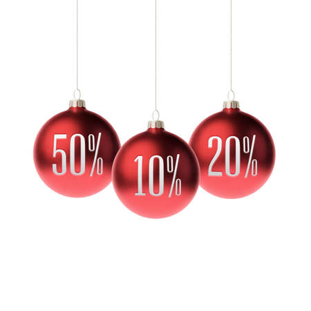 isolated on red: Red 3d christmas Baubles with discount label. Vector illustration Illustration
