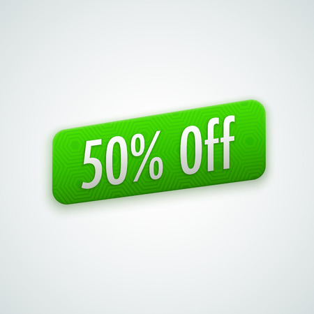 50 off: green sticker, badge with 50% off label