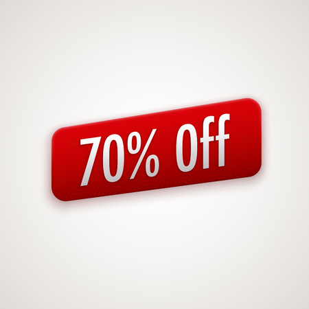 70: red sticker, badge with 70% off label Illustration