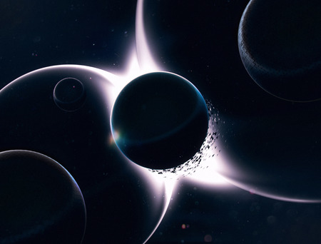 3D abstract space planets illustration. Futuristic ui and film design Stockfoto