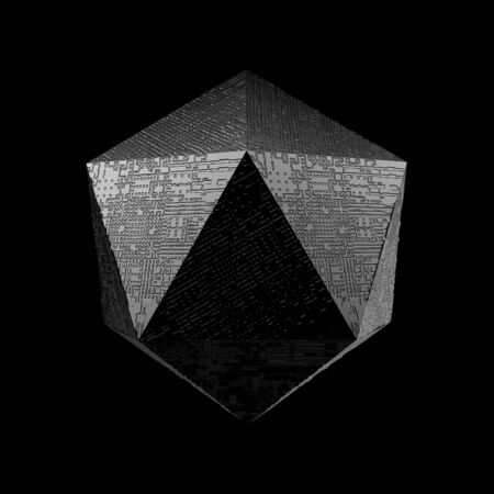 polyhedron: 3d render of geometric platonic object. Isolated Futuristic object