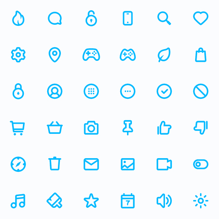 48x48: Outline vector icons for web and mobile. 36 Icons, 4 pixel stroke & 48x48 resolution