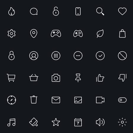 48x48: Outline vector icons for web and mobile. 36 Icons, 2 pixel stroke & 48x48 resolution