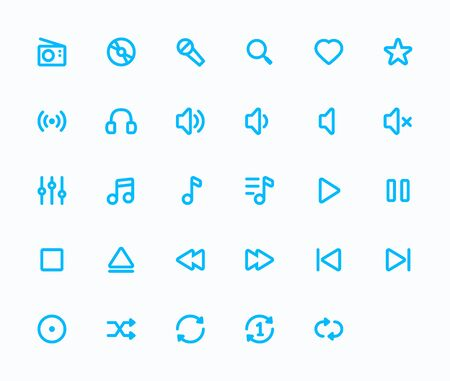 48x48: Music outline vector icons. 29 Icons, 4 pixel stroke & 48x48 resolution Illustration