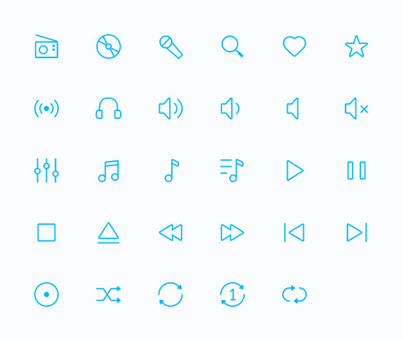ios: Music outline vector icons. 29 Icons, 2 pixel stroke & 48x48 resolution Illustration