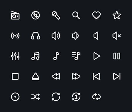 ios: Music outline vector icons. 29 Icons, 4 pixel stroke & 48x48 resolution Illustration