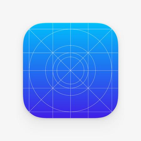 Icône de l'application modèle avec les lignes directrices, les grilles. Blank icône de l'application pour le web et mobile. Vector bouton isolé Vecteurs
