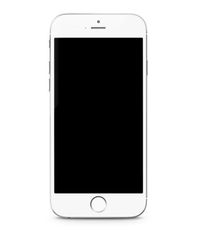 Illustration vectorielle réaliste de smartphone. Maquette de téléphone portable avec écran blanc isolé sur fond blanc