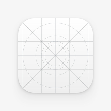 guidelines: Application icon template with Guidelines, grids. Blank application icon for web and mobile. Vector isolated button
