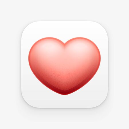 ios: 3d red Heart, valentine heart app icon. Vector illustration. Isolated on white