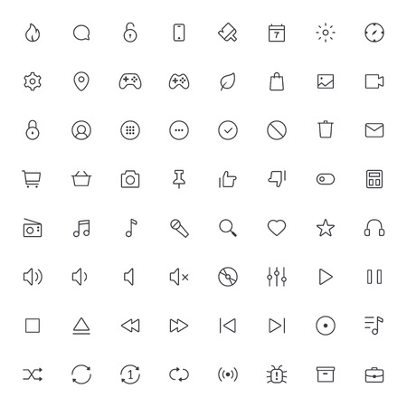 48x48: Outline vector icons for web and mobile.Thin Stroke Icons, 2 pixel stroke & 48x48 resolution Illustration
