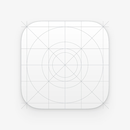 ios: Application icon template with Guidelines, grids. Blank application icon for web and mobile. Vector isolated button