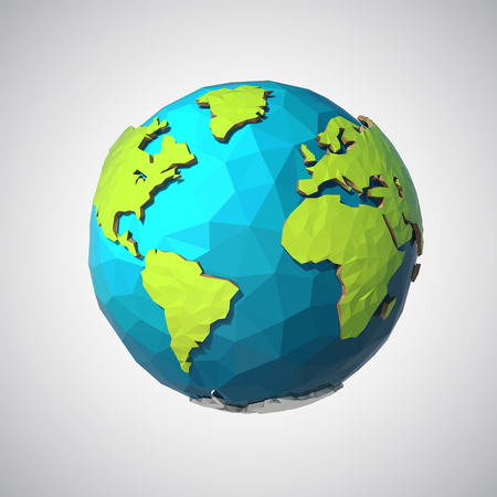 Earth illustration in Low poly style. Polygonal globe icon. Vector isolated Ilustracja