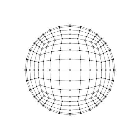 hexahedron: 3D hexahedron wireframe mesh sphere. Network line, HUD design sphere. Vector Illustration