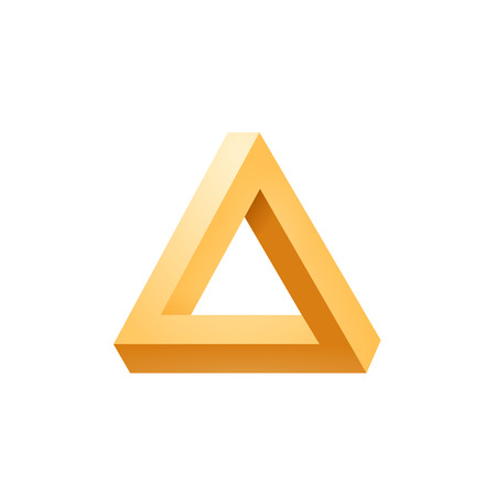 perceive: Penrose triangle icon. Impossible triangle shape. Optical Illusion. Vector Illustration isolated on white