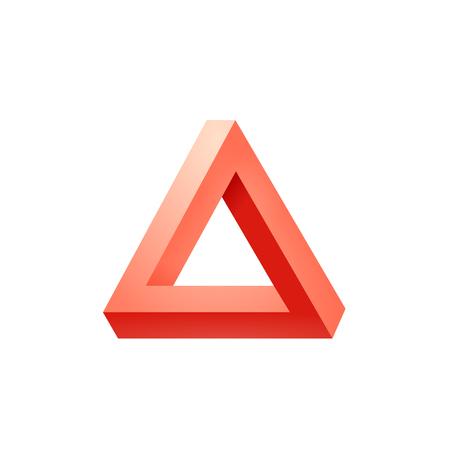 Penrose driehoekje. Onmogelijke driehoek vorm. Optische illusie. Vector illustratie op wit wordt geïsoleerd