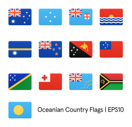 oceania: Flags Of Oceania. Vector icons set.