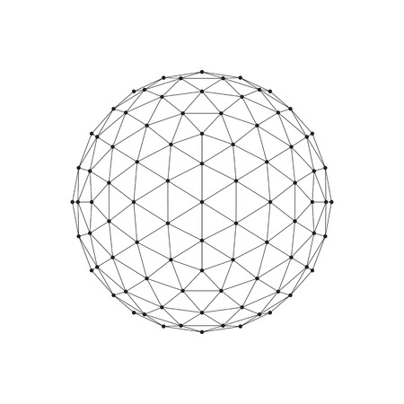 icosahedron: 3D Icosahedron wireframe mesh sphere. Network line, HUD design sphere. Vector Illustration
