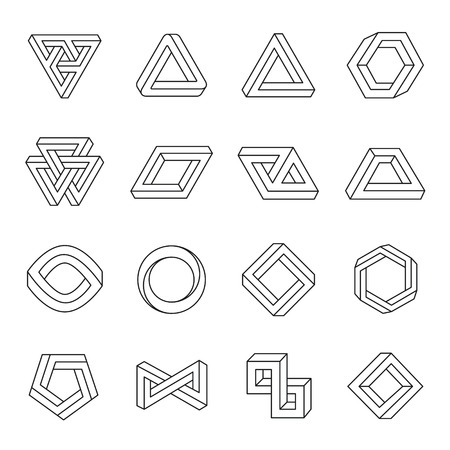 Set of impossible shapes. Optical Illusion. Vector Illustration isolated on white Vettoriali