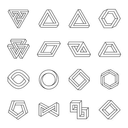 Set of impossible shapes. Optical Illusion. Vector Illustration isolated on white Illustration