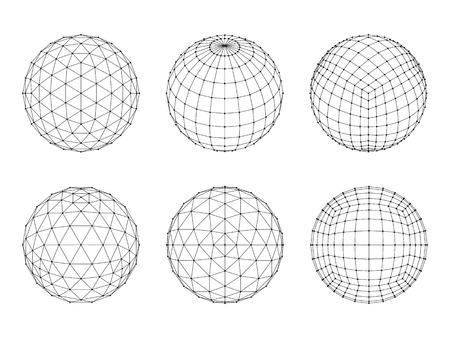 hexahedron: Set of Wireframe mesh spheres. Network line, HUD design sphere. Vector Illustration Illustration