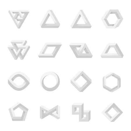 Set of impossible shapes. Optical Illusion. Vector Illustration isolated on white Vetores