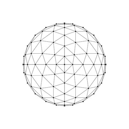 octahedron: 3D octahedron wireframe mesh sphere. Network line, HUD design sphere. Vector Illustration Illustration