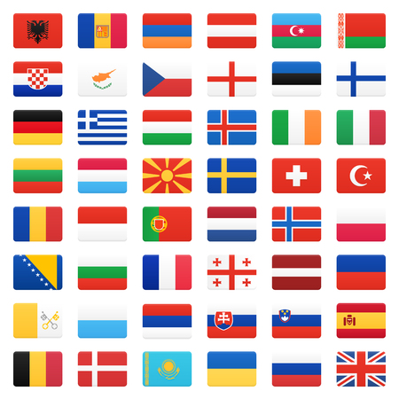 europe flags: Europe flags. Vector icons set. Illustration