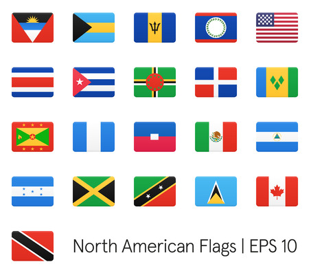 north american: North American flags. Vector icons set.